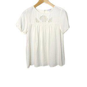 & Other Stories size 6 Medium Cream Linen Shell Cutout Babydoll Blouse